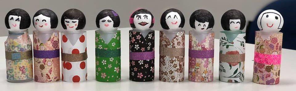 Kokeshi Dolls using Yakult Bottles